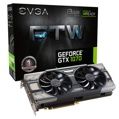 EVGA GeForce GTX 1070 FTW GAMING ACX 3.0 / 1607-1797MHz / 8GB D5 8GHz / 256-bit / DVI, HDMI, 3x DP / 375W (8+8)