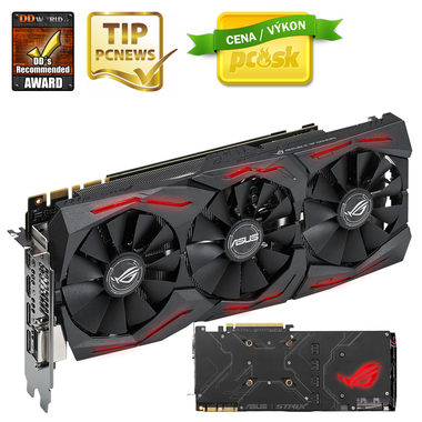 ASUS STRIX-GTX1080-8G-GAMING / 1607-1733MHz / 8GB D5X 10GHz / 256-bit / DVI, 2x HDMI, 2x DP / 300W (8+6)