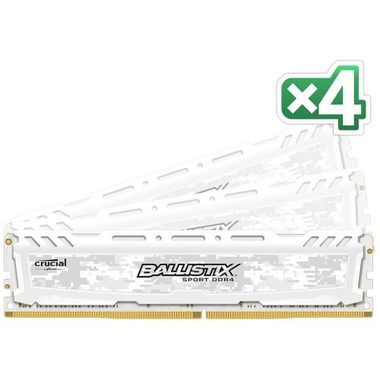 CRUCIAL Ballistix Sport LT White 16GB(4x4GB) / DDR4 / 2400MHz / PC4-19200 / CL16 / 1.2V / Single Ranked x8