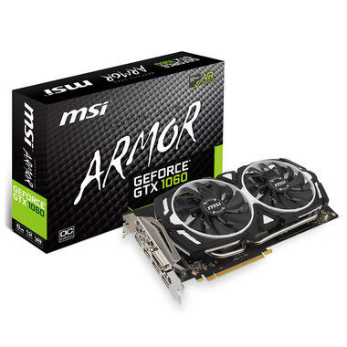 MSI GeForce GTX 1060 ARMOR 6G OC / 1544-1759MHz / 6GB D5 8GHz / 192-bit / DVI, HDMI, 3x DP / 225W (8)