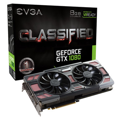 EVGA GeForce GTX 1080 CLASSIFIED GAMING ACX 3.0 / 1721-1860MHz / 8GB D5X 10GHz / 256-bit / DVI, HDMI, 3x DP / 375W (8+8)