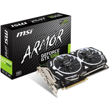MSI GeForce GTX 1060 ARMOR 3G OCV1 / 1544-1759MHz / 3GB D5 8GHz / 192-bit / DVI, HDMI, 3x DP / 225W (8)