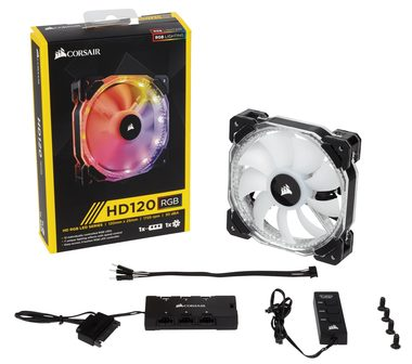 Corsair HD120 RGB LED + Ovladač / 120mm / Hydraulic / 30dB @ 1725RPM / 92.4m3h / 2.25mm H2O / 7 - 13.2V / 4-pin