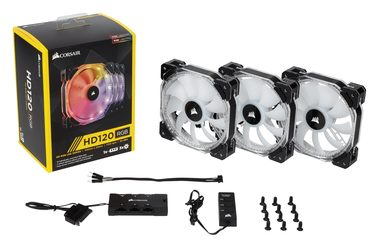 Corsair HD120 RGB LED x3 + Ovladač / 120mm / Hydraulic / 30dB @ 1725RPM / 92.4m3h / 2.25mm H2O / 7 - 13.2V / 4-pin