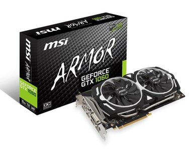 MSI GeForce GTX 1060 ARMOR 6G OCV1 / 1544-1759MHz / 6GB D5 8GHz / 192-bit / DVI, HDMI, 3x DP / 225W (8)