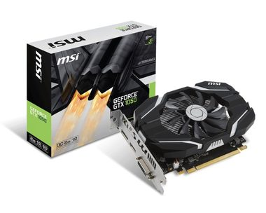 MSI GeForce GTX 1050 2GT OC / 1404-1518MHz / 2GB D5 7GHz / 128-bit / DVI, HDMI, DP / 75W