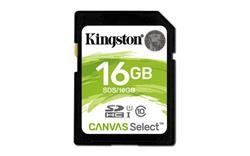 Kingston Canvas Select SDHC 16GB / UHS-I U1/ čtení: až 80MBs / zápis 10MBs