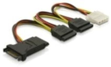 Power Adapter SATA 15-pin na 3xSATA 15-pin + 1x Molex 4-pin
