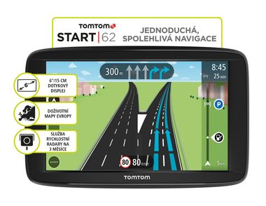 "TomTom START 62 Europe LIFETIME mapy / 6"" / 8GB / microSD / Evropa"