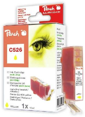 Peach CLI-526 alternativní cartridge s čipem / Pixma iP4850 / 10 ml / Žlutá