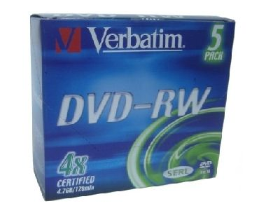 VERBATIM DVD-RW(5-Pack)Slim / Colour / DLP / 4x / 4.7GB