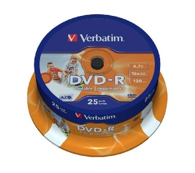 Verbatim DVD-R / 4.7 GB / 16x / Printable / 25ks cake