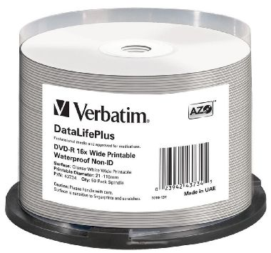 Verbatim DVD-R Wide Glossy / 4.7 GB / 16x / Printable / Waterproof / 50ks cake