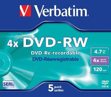 Verbatim DVD-RW / 4.7 GB / 4x / 5ks jewel box