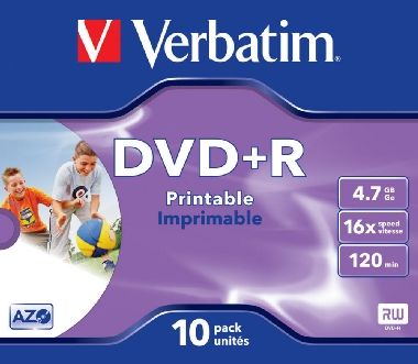 Verbatim DVD+R / 4.7 GB / 16x / Printable / 10ks jewel case