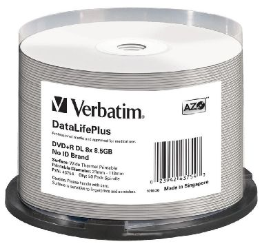 Verbatim DVD+R DL / 8.5 GB / 8x / Professional / Printable / no-ID / 50ks spindl