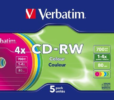 Verbatim CD-RW Colour / 700 MB / 4x / 5 pack Slim