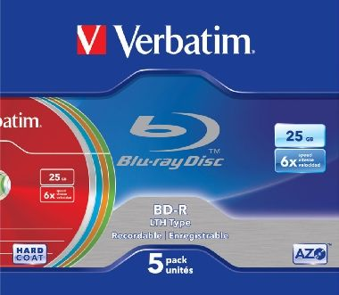 Verbatim Blu-Ray BD-R / 25GB / 6x / LTH-AZO / 5ks slim box