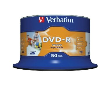 Verbatim DVD-R / 4.7GB / 16x / Wide Inkjet Printable / 50 pack Spindle