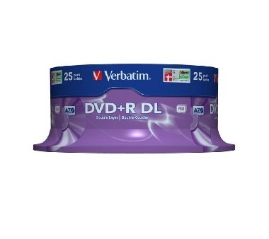 Verbatim DVD+R DL / 8.5 GB / 8x / Matt Silver / 25ks spindle