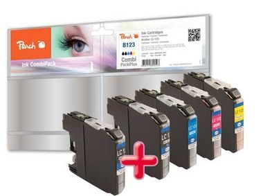 Peach LC-123 MultiPack Plus alternativní cartridge / pro Brother DCP-J4110 / 2xbk+cmy