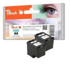 Peach Remanufactured TwinPack HP302 alternativní cartridge / OfficeJet 3830 / 2x5 ml / černá