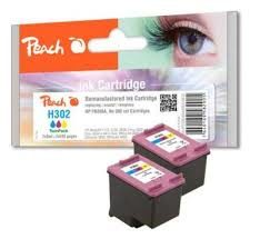 Peach Remanufactured TwinPack HP302 alternativní cartridge / OfficeJet 3830 / 2x8 ml / barevná