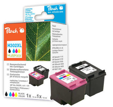Peach Remanufactured MultiPack HP302XL alternativní cartridge / OfficeJet 3830 / 15+18 ml / MultiPack