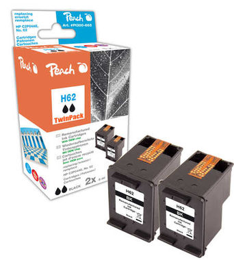 Peach Remanufactured HP62 TwinPack alternativní cartridge / HP Envy 5640 / OEM chip / 2x4.3ml / černá