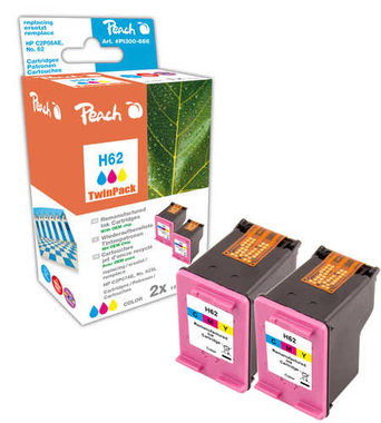 Peach Remanufactured HP62 TwinPack alternativní cartridge / HP Envy 5640 / OEM chip / 2x9ml / barevná