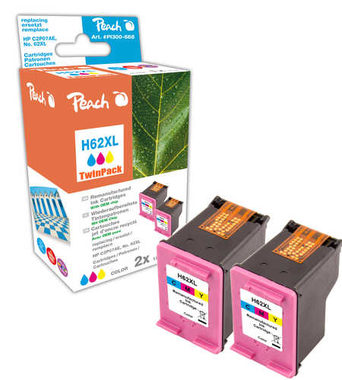 Peach Remanufactured HP62XL TwinPack alternativní cartridge / HP Envy 5640 / OEM chip / 2x21ml / barevná