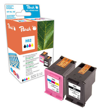 Peach Remanufactured HP62 MultiPack alternativní cartridge / HP Envy 5640 / OEM chip / 4.3+9ml / Multipack