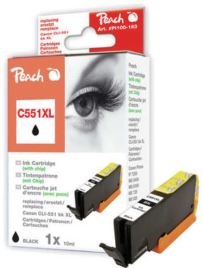 Peach CLI-550XL alternativní cartridge s čipem / Pixma MG5450 / 13ml / Photo černá
