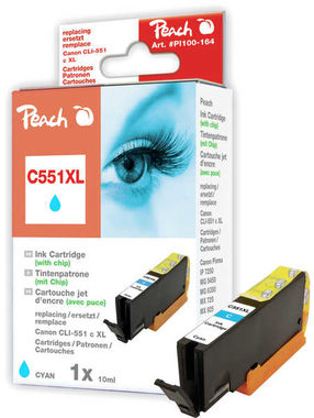 Peach CLI-551XL alternativní cartridge s čipem / Pixma MG5450 / 13ml / Modrá