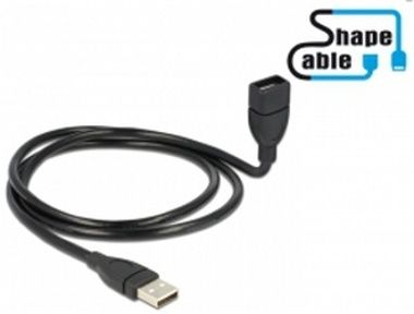 DeLock USB 2.0 kabel samec <-> A samice / ShapeCable / 1 m