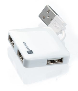CONNECT IT 4-portový USB mini hub / bílá