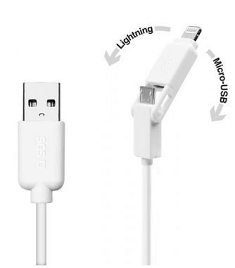 SBS datový kabel pro Apple / USB na microUSB + Lightning / iPhone / iPad / iPod / 1m / bílý