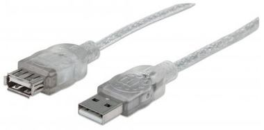 Manhattan Hi-Speed USB 2.0  Kabel A-A M/F / 1.8m / stříbrný