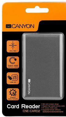 CANYON CNE-CARD2 / CardReader All in one / USB 2.0 / šedá