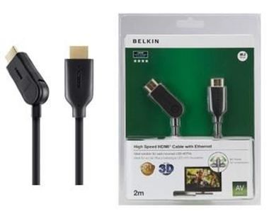 Belkin kabel HDMI HighSpeed 3D s Ethernetem 180° / zlacený / 2m