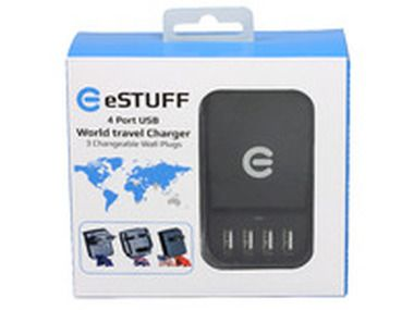 eSTUFF Travel Charger 4 USB / 2 x 1.0A + 2 x 2.1A / EU/UK/US/CN adaptér