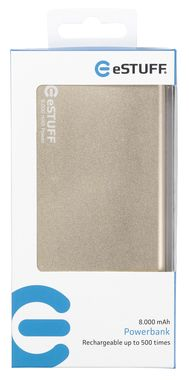 eSTUFF POWER BANK 8.000mAh / IN: 5V/1A / OUT:5V/2A 1A / 30cm microUSB kabel / zlatá
