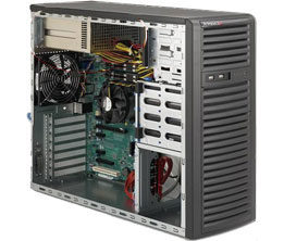 "SUPERMICRO Mid-Tower / 4x 3.5"" fixed HDD / 2x 5.25"" / 1x external 3.5"" / 2x500W (80PLUS Bronze)"