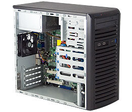 "SUPERMICRO Mid-Tower / 4x 3.5"" fixed HDD / 2x 5.25"" / 1x external 3.5"" / 300W (80PLUS Bronze)"
