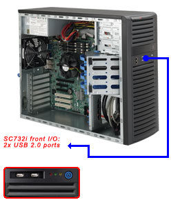 "SUPERMICRO Mid-Tower / 4x 3.5"" fixed HDD / 2x 5.25"" / 1x external 3.5"" / 500W (80PLUS Bronze)"