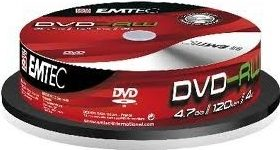 EMTEC DVD-RW 4.7 GB 10ks / 4x / Cake Box