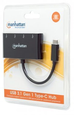 Manhattan USB 3.1 Gen 1 Type-C Hub černý / 4x Type-A USB / Bus Power