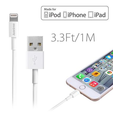 Avantree Apple MFI lightning kabel / 1m / bílá