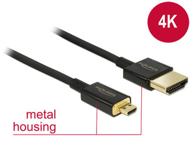 Delock Kabel High Speed HDMI s Ethernetem - HDMI-A samec > HDMI Micro-D samec 3D 4K / 2 m Slim Premium