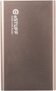 eSTUFF POWER BANK 4.000mAh / IN: 5V/1A / OUT:5V/2A 1A / 30cm microUSB kabel / zlatá-růžová